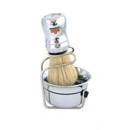 Omega Shaving Brush, Bowl & Stand Set - Chrome