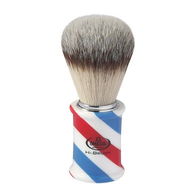 Omega Hi-Brush Synthetic Badger Brush - Barber Pole Handle