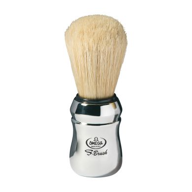 Omega Synthetic Boar Bristle Shaving Brush - Chrome